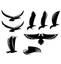 Set of heraldry black birds vector image vector image