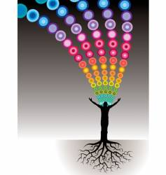 tree man roots dots vector image vector image