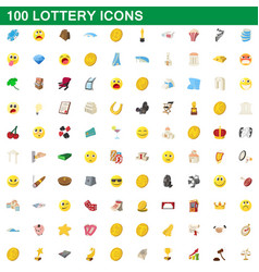 100 lottery icons set cartoon style vector image vector image