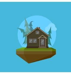 a cartoon house in flat polygonal style and flying vector image