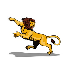 Lion Big Cat Attacking Retro vector image vector image