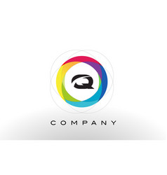 q letter logo with rainbow circle design vector image