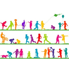 Set of colored children silhouettes playing vector image vector image