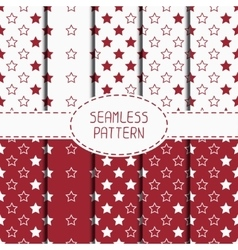 Set of red hipster fashion geometric seamless vector image vector image
