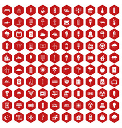 100 windmills icons hexagon red vector
