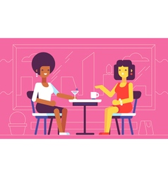 2 girls talking in cafe vector