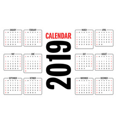2019 calendar design template vector image