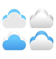 3d cloud element in 4 color version vector