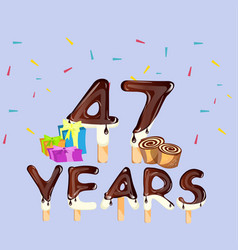 47th years happy birthday card vector image