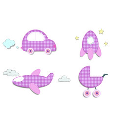 baby plaid pink stickers of car rocket stroller vector image