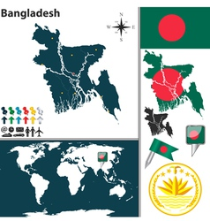 Bangladesh map world vector image