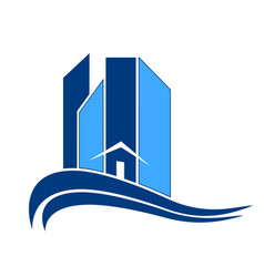 blue building city logo icon vector image