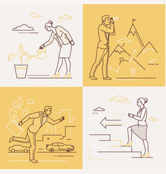 business concepts - set of line design style vector image
