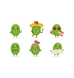 Cartoon cactus character isolated on white vector