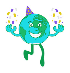 cartoon character happy earth vector image