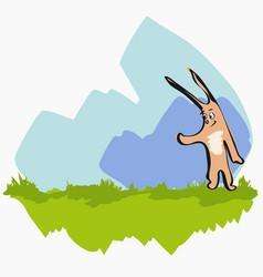 cartoon cute rabbit on grass vector image