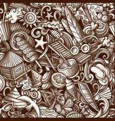 cartoon doodles summer beach seamless pattern vector image