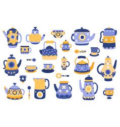 cartoon kitchen teapot ceramic tea teapots vector image