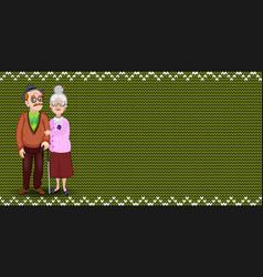 cartoon loving elderly couple on green fabric vector image