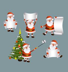 Cartoon set of santa holding blank empty scroll vector