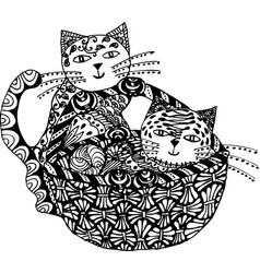 cat black white zen art hand drawn fat vector image