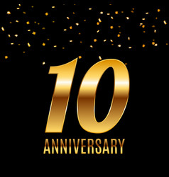 celebrating 10 anniversary emblem template design vector image