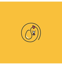 Chicken and egg minimalistic logo vector