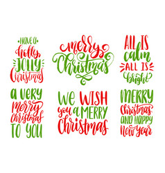 christmas calligraphic set vector image