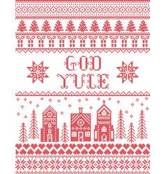 Christmas pattern with winter wonderland village vector