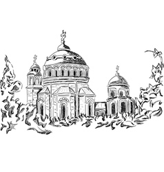 Church and trees vector