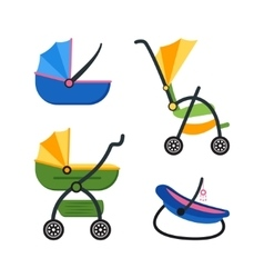 Classic Baby Carriage Set vector