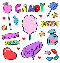 collection stock of candy various doodle style vector image