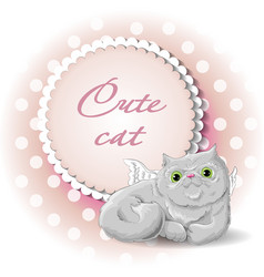Cute cat angel vector
