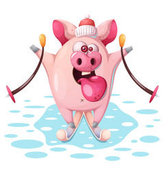 Cute pink pig with ski vector