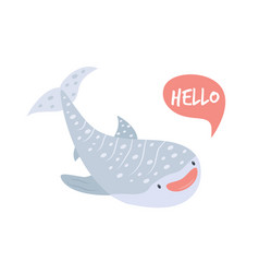 Cute smiling whale shark in childish style vector