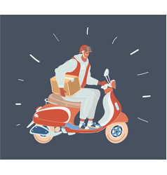delivery man riding red vector image