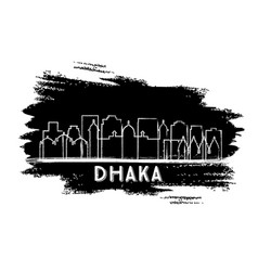 Dhaka bangladesh city skyline silhouette hand vector