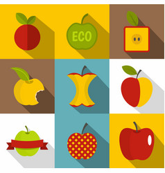 different apple logo icons set flat style vector image