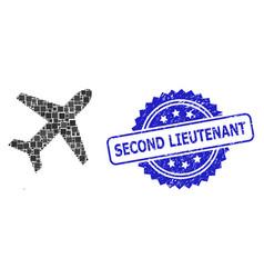 Distress second lieutenant seal and square dot vector