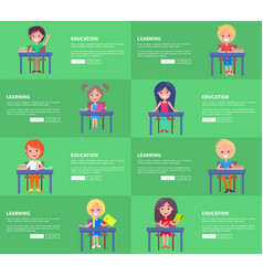 Education and learning set of green posters blocks vector