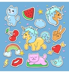 Fashion cute patches stickers set with unicorn vector