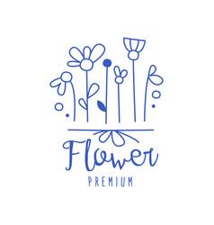 Flower premium florists flower shop logo hand vector