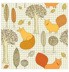 fox and tree wallpaper pattern vector image