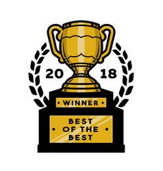 Gold cup trophy emblem logo vector