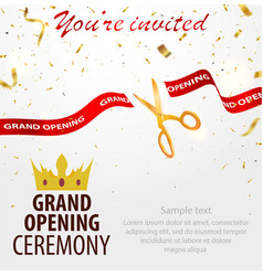 grand opening celebrations background with gold vector image