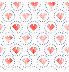 hand drawn embroidery love heart stitches seamless vector image