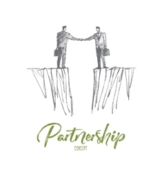 Hand drawn handshake of two businessmen over gap vector