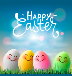 Happy easter colorful easter eggs with cute vector