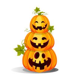 Happy halloween three funny jack o lanterns vector