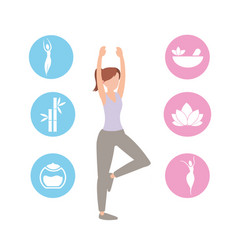 Healthy woman training sport exercise vector